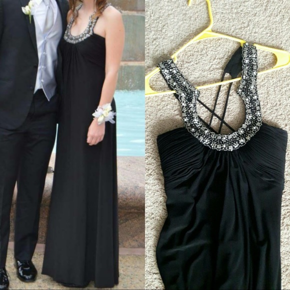Long Black Prom Dress With Silver Beads